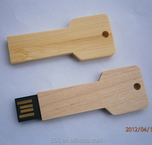 Customized Logo Wooden Key Shape USB Pen Drive 64MB-128GB