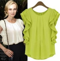Z70346M 2015 Hot Sale European Fashion ladies tops and blouse 2015 latest design Chiffon Lady's Top