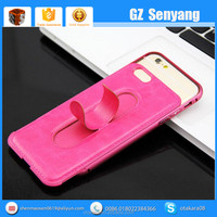 Special Design Stand PU Back Cover Metal Bumper Case for iphone6