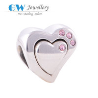 China manufacturer wholesale European style bracelet solid 925 silver heart beads kids rubber charms