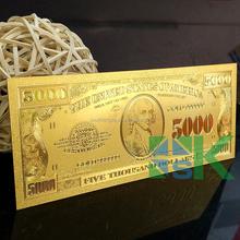 Fashion Design Decorative Craft 5000 US Dollars Gold Foil Banknote