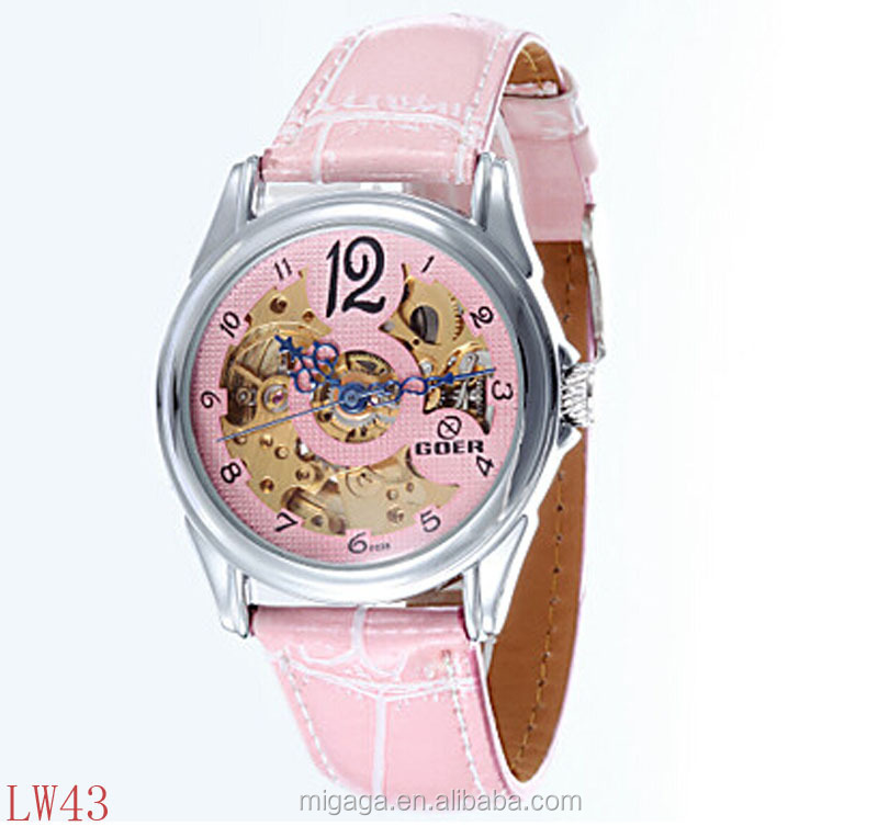 Women's Round Dial Leather Strap Automatic self-winding Watch