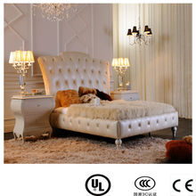 danxueya- 5 star luxury hotel bedroom furniture/ high gloss white leather king size bed/super king size bed