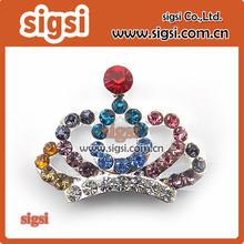 Colorful rhinestone crown brooch use for wedding bouquet, Bridal sash , Wedding Crown Brooch