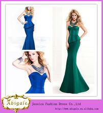 2014 alta qualidade novo modelo made in china longa cetim sereia querida mangas peplum hunter verde vestidos de noite( yw339)