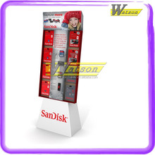 Latestly display memory card floor Cardboard Hook Display shelf for store
