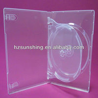 14mm clear double discs dvd box with tray