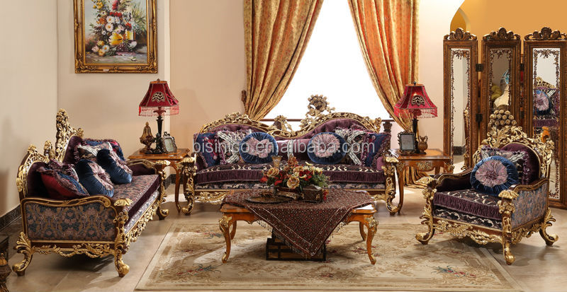 Great British Retro Royal Furniture Living Room Gold Painting Sofa Set Classi
