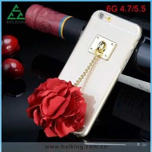 Crystal clear back cover For iPhone 6 Flower tassel case