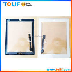 OEM high quality touch screen glass panel accessories for ipad 3LCD Touch Screen Digitizer with home buttom flex black and white