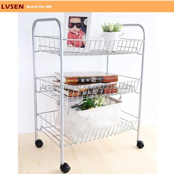 Home Kitchen Garden Wire Metal Mobile 3 Tier Storage Cart 1