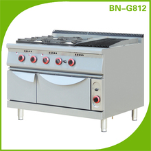 Hotel kitchen equipment commercial 4 burners gas range with grill and oven/multifunctional cooking range