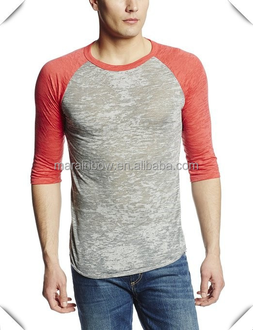 Custom fashion design men 39 s blank burnout baseball tee 3 4 for Custom raglan baseball shirt