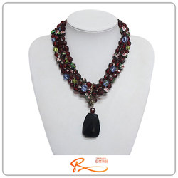 2015 Wholesale fashion colorful emerald and ruby women necklace jewel beads pendant gemstone necklace