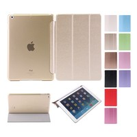 factory outlet PU ultra-thin silk grain smart cover case for iPad air
