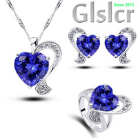 Austrian crystals Heart shaped crystal fox three suits Classic luxury purple zircon wedding gift necklace earrings ring set 5007