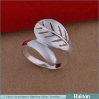 China Factory Direct Wholesale only silver material leaf Wedding Jewelry Ring