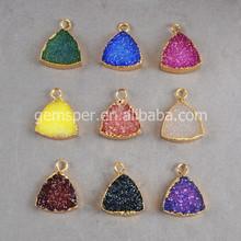 Druzy stone wholesale fashion jewelry Manufacturer in China pizza trillion cut drusy pendant charm