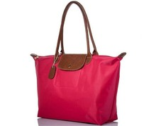 custom nylon tote bag, leather handle foldable tote shopping bag