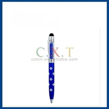 Short Touch Stylus Pen with Crystal Decoration & Ballpoint Pen for Apple Mobile Devices (Blue)