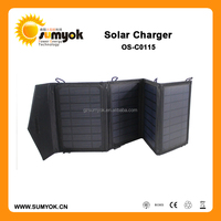 15W new design 18% high efficiency portable solar foldable charger with cord-lock for mobile