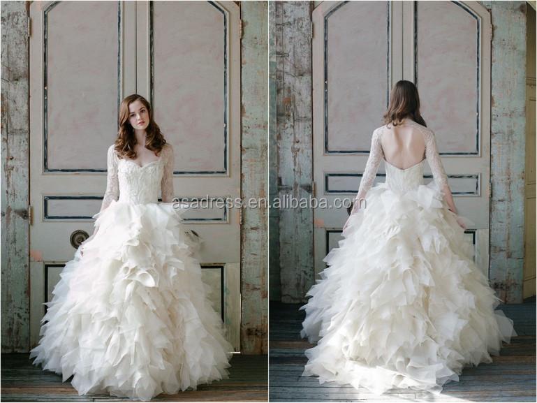 Long Sleeve Dress Wedding Buying Ruffled Organza Wedding Dress From ...
