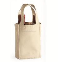 2015 wholesale recycled cotton jute cotton wine bag