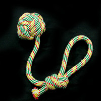 Free Shipping Pet Puppy Dog Toy Cotton Braided Rope Chew Tug Knot Ball Throe Disc Playing Ball Fetch H2037