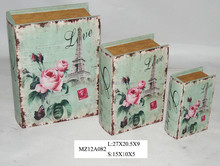 Elegant light pink flowers on blue style upright wooden book box