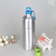 sliver aluminum drinking bottle with carabiner hook