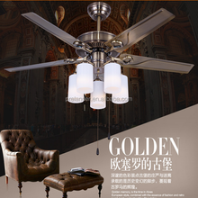 Restaurant, sitting room, meeting room glass white lampshade Modern ceiling fan lights.