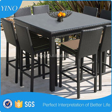 8 Person Cheap Rattan Bar Furniture Outdoor Bar Table and Chairs SM0088