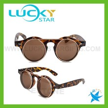 Retro flip up sunglasses 2015 leopard double lens OEM sunglasses world classic manufacturing company