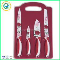 Rose printing 4pcs Non-stick coated kitchen knife set