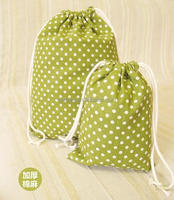 promotional green drawstring bag cotton
