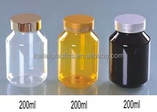 200ml clear PET plastic capusle containers with aluminum cap, 200cc plastic orange medicine storage bottles wholesale