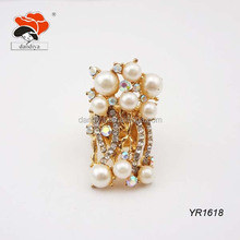fashion indian white pearl rhinestone wedding ring