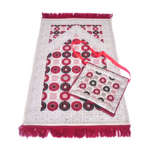 Sell at a discount woven jacquard chenille muslim portable prayer rug with a separate bag in stock