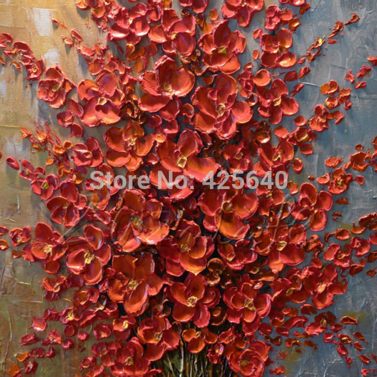 Buy Hand Painted Palette Knife Colorful Flowers Oil Painting Cuadros Wall Art Canvas Pictures Modern Abstract Home Decor Living Room cheap