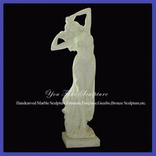 Decorative Garden Young Nude Girl White Marble Statues