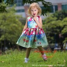 El nuevo venir vestido de la muchacha patrón de caracteres sin mangas oscilación niños ropa de verano GD80828-115F