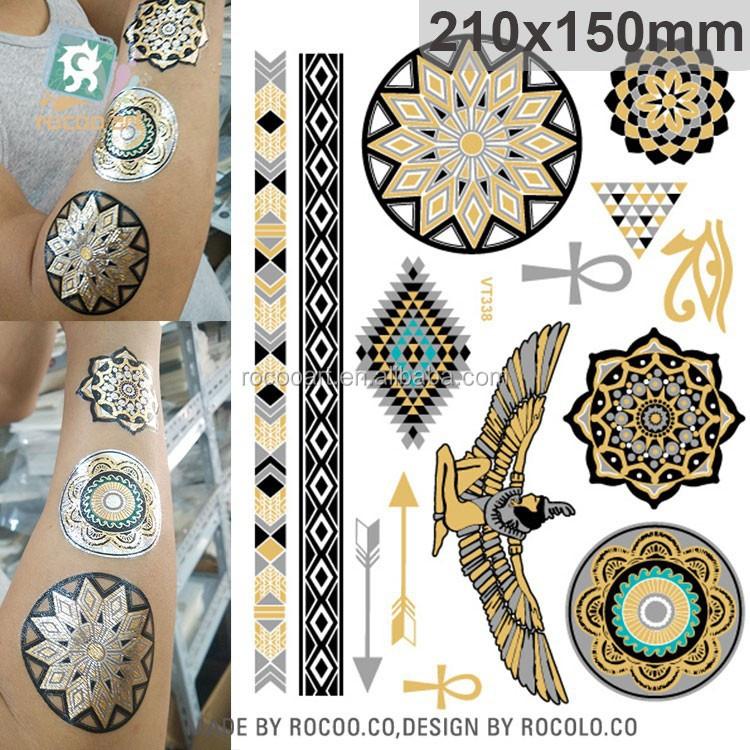 Customs new egypt symbols gold foil metallic temporary for Gold foil tattoo