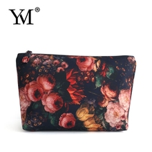 2015 fashion new style Fabric flower cosmetic plain makeup bag for lady