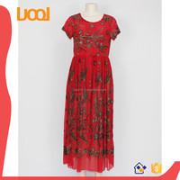 Africa & Arabic design flock printing prom evening dress maxi dress