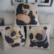 Cotton/linen screen print lovely panda pattern printed cushion cover throw pillow case 45x45cm