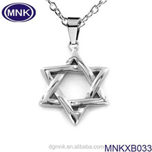 High polished 316l stainless steel star of david pendant,custom stainless steel pendant
