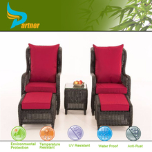Chinese Style Wicker 5Pcs Sofa Set with Ottoman Rattan Garden Outdoor Patio Furniture for Leisure Time