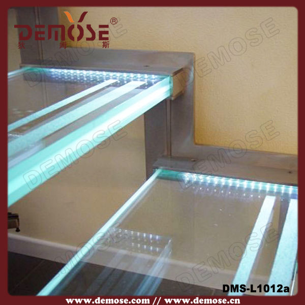 Tempoered Glass Stairs With Led Stair Light / Stair
