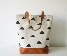 Triangles Print Natural Cotton Canvas Tote Bag Leather Handles Book Bag