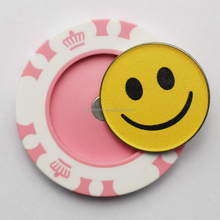 Unique plastic poker chip with golf ball marker
